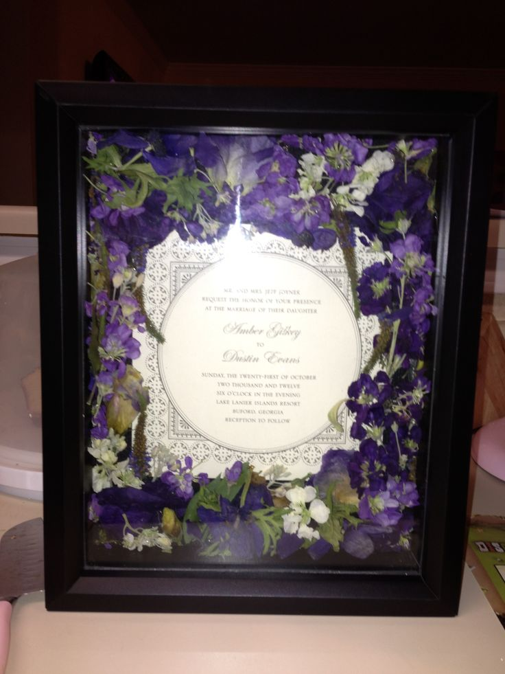 I Used A Shadow Box Silica Gel And My Wedding Invitation To Preserve Some