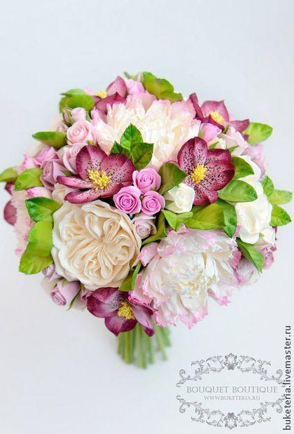 Clay handmade flowers by Yuliya Litus. Wedding bouquet. Букеты ручной работы. Ярмарка Мастеров - ручная работа Букет невесты из полимерной глины. Handmade.