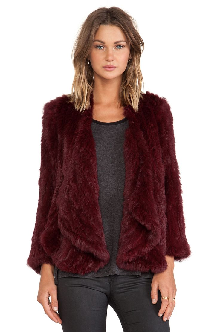 Perfect for cooler fall football games. BOOMER SOONER Jennifer Kate Windmill Rabbit Fur Jacket in Red Burgundy | REVOLVE