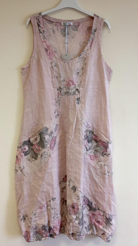 New Ladies Italian Lagenlook Quirky Boho Floral Balloon Pocket Linen Tunic Dress | eBay