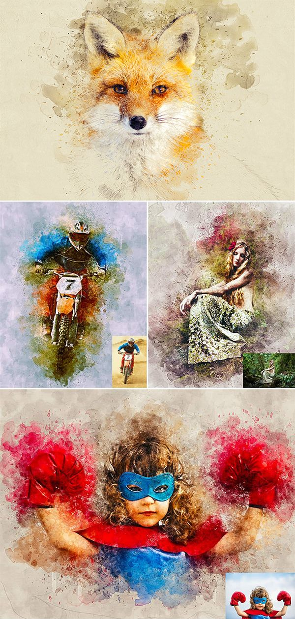 Realistic Watercolor Photoshop Template Mock Ups Tutorial With