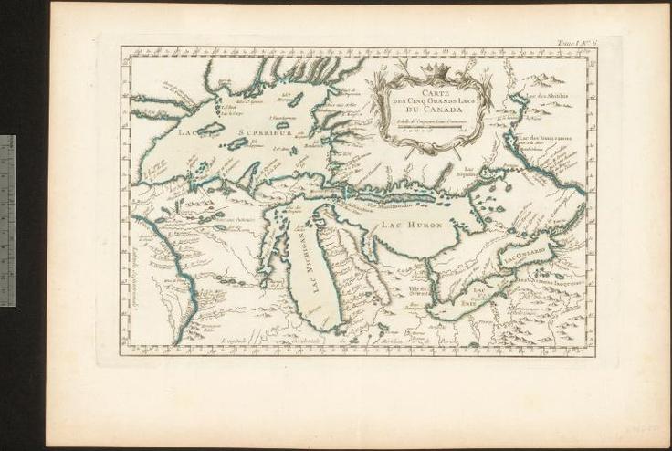 Carte des cinq grands lacs du Canada, [1764].-  Cartographe: Jacques-Nicolas Bellin.   Bibliothèque et Archives Canada, collection Canadiana Alexander E. MacDonald, MIKAN: 3776820.