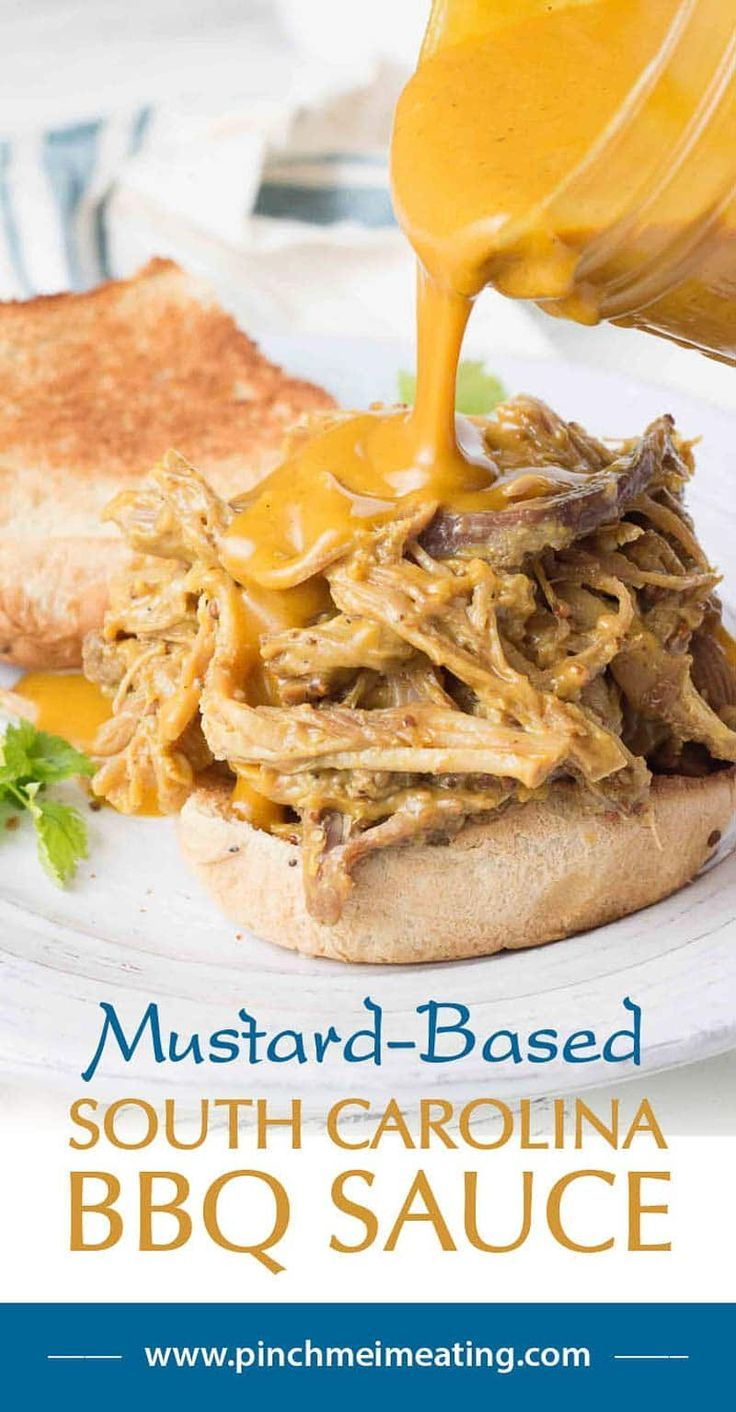 The only way I eat my pulled pork is with mustard-based South Carolina BBQ sauce! This is so sweet, tangy, and delicious!