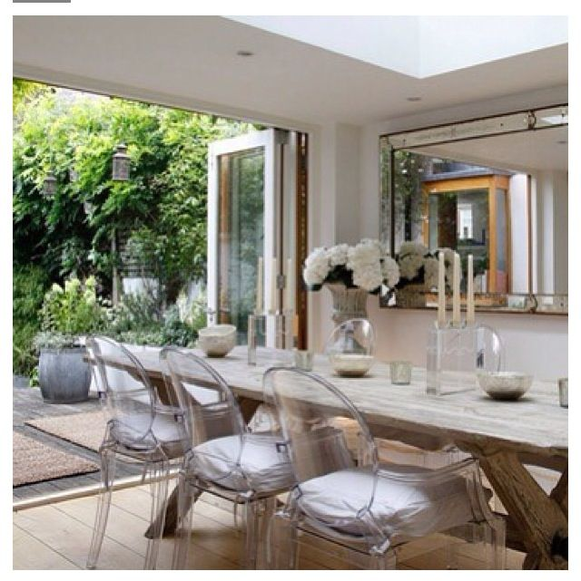 Dining room inspiration. Love! French inspired. Modern and rustic. Acrylic ghost chairs with white cushions. Rustic light wood table. Outdoor patio. Antiqued mirror. Candelabra. Greenery. Light wood floor.