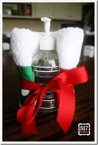 Gift Idea: Piece together a Christmas towel and wrap around soap