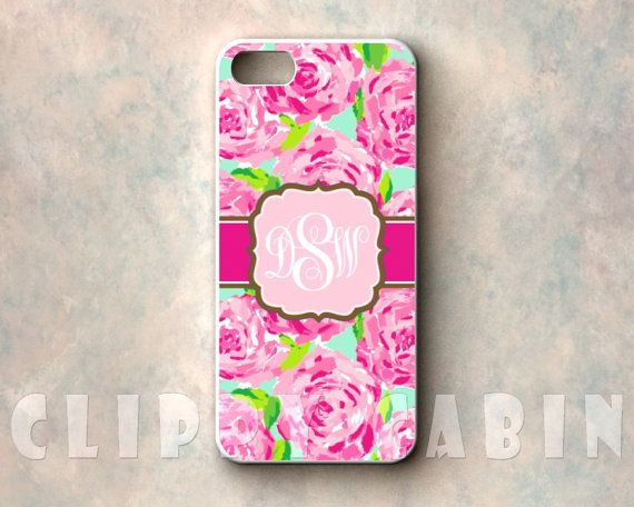 Handmade Custom Monogram Sublimation Case, Apple iPhone 5, 4, 4s, with Rubber Sides : Lilly Pulitzer Pattern, First Impression, Pink Roses