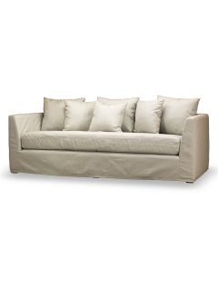 """Our Capri slip-covered sofa brings the comfort of your living room to the outdoors.  European styling includes six throw pillows that can be removed along with the other components for machine washing.  All-weather marine grade plywood frame. Size: 86.5""""W x 37""""D x 27""""H  Seat Width: 75""""   Seat Depth: 31""""   Seat Height: 19"""" Arm Height: 27""""    Gross Weight: 171.6 lbs.       Marine grade plywood frame, corner blocked nailed and glued  Fully padded outside arms and outside back.  Sinuous wire…"""