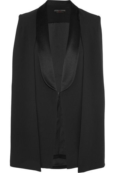 Alice Olivia - Merrie Satin-trimmed Crepe Cape - Black -