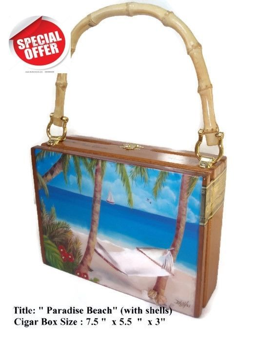 "Mother's day Gift !Cigar Box Purse w/ Cuban artworks on top.  ""Paradise Beach"" ."