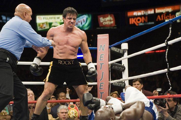 "Rocky drops Mason for the first time in his career in ""Rocky Balboa""."