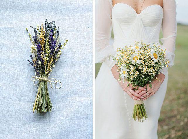 34 нежных свадебных букета из полевых цветов
