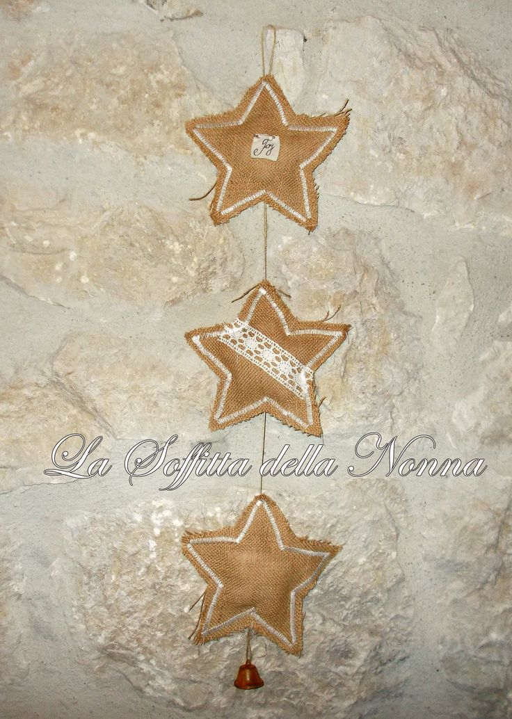 Burlap stars pendant
