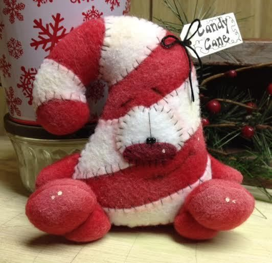 Primitive RagGeDY ChRiSTmaS CanDy CaNE SnoWMaN DoLL Shelf Sitter Bowl Filler #Christmas