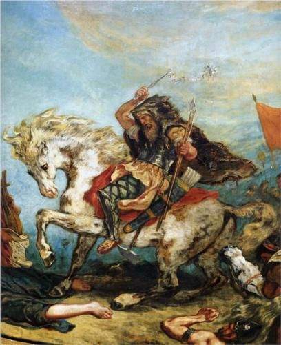 Attila the Hun  - Eugene Delacroix--never a more insipid image of the Hun king !! LOL