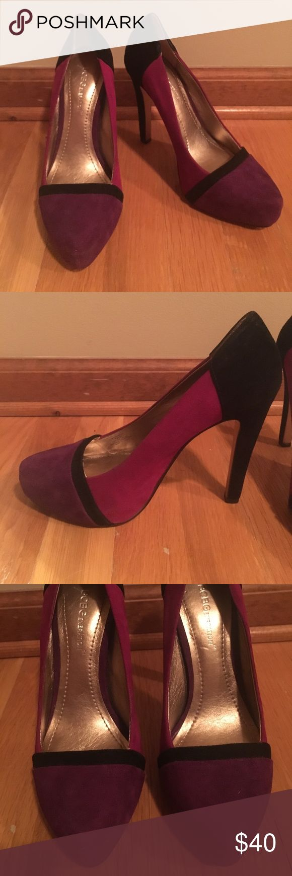 BCBG 4 inch heels (size 7) These are super cute BCBG heels, only worn twice and in great condition.  They are size 7 and a suede material.  They have magenta, purple, and black coloring and a 4 inch heel.  Feel free to reach out with any questions :) BCBGeneration Shoes Heels