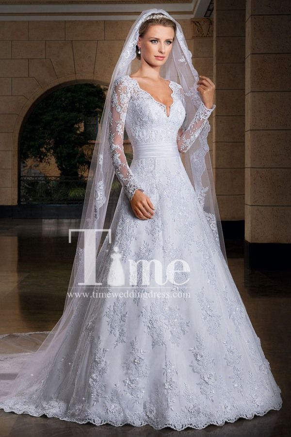 V-neck Neckline Long Sleeves Ivory/White Floor Length Ball Gown Wedding Dresses…