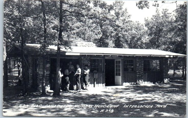 "Interlochen, MI RPPC Photo Postcard ""Camp Store - National Music Camp"" 1950"