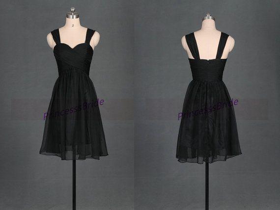 Short black chiffon bridesmaid dresses 2014,cheap knee length bridesmaid gowns hot,simple elegant women dress for wedding party. on Etsy, $79.00