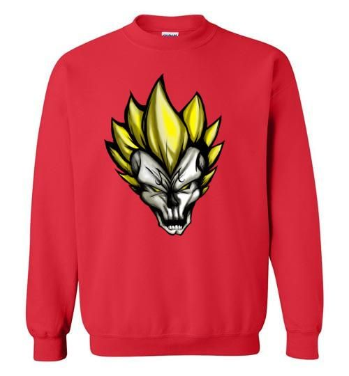 majin vegeta skull Crewneck Sweatshirt