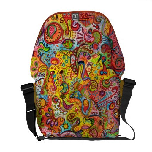 Psychedelic Colorful Abstract Messenger Bag