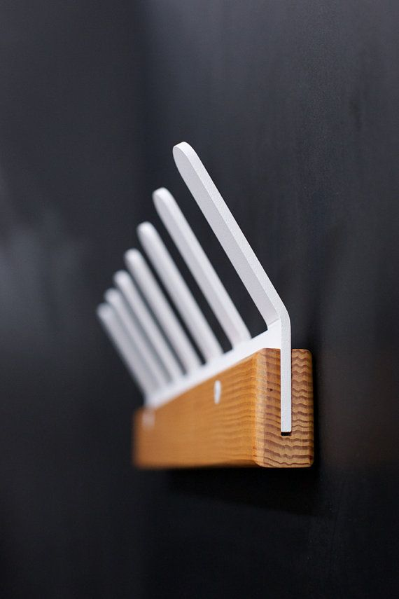 Coat Rake Metal and Wood Coat Hanger by Quartertwenty on Etsy