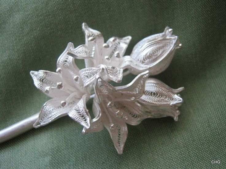 Handmade Silver Filigree Flowers