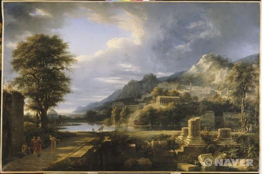 """1787년 피에르 앙리 드 발랑시엔은 살롱전에 그의 야심이 담긴 풍경화 두 점을 전시하였다. 여기에서 그는 관중들에게 그의 신고전주의적인 개념을 선보이고 싶었다. 《아그리장트의 옛 마을》은 이 두 작품들 중 하나로 오랜 기간의 작업에 걸쳐 제작되었다. 이 그림은 그의 작업에서 중요한 개념들인 고전적인 주제들의 환기, 이상적인 자연의 완전한 형식, 빛의 조화로운 처리, 푸생(Poussin)과 카라치(Carrache) 그리고 클로드 젤레(Claude Gellée)를 연상시키는 직접적인 증거를 완벽하게 나타내고 있다.   그들은 이곳에 오는 외국인들을 주인의 집으로 유인할 목적이었다. 그렇기 때문에 그들은 주인에 의해 외국인의 노예들을 잡기 위해 배치되었다."""" 이 설명대로 그림의 왼쪽 하단에 위치해 있는 세 명의 등장인물들은 아그리장트 주민들의 손님을 환대하는 모습을 화려하고 웅장한 하늘이 느낌을 더해준다."""