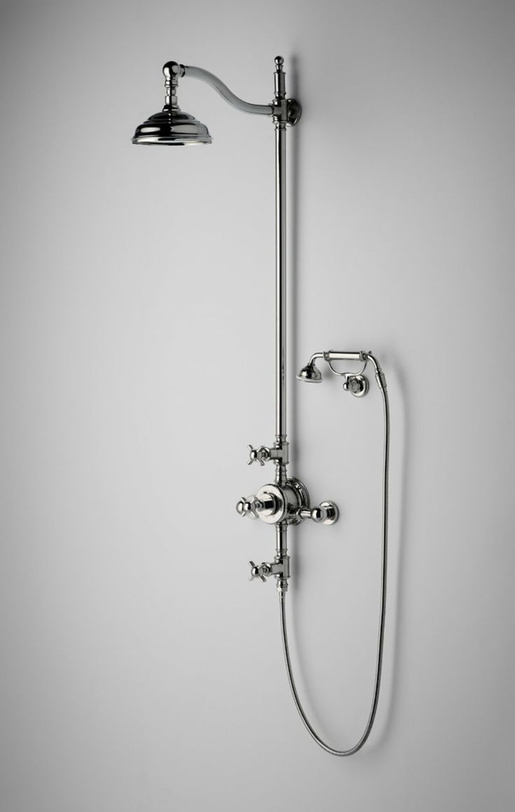 Olympia Collection for bath/sink - Exposed Thermostatic System with 8 Shower Rose and Handshower and Metal Cross Handles — Products | Waterworks