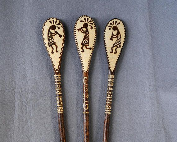 Wooden spoons decorative spoons Kokopelli woodburned spoons