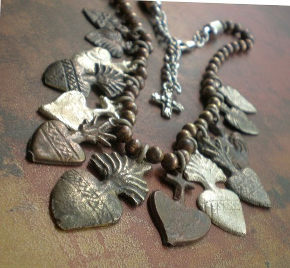 Sacred Heart Milagro Necklace... Chic Spanish Heart Collectable Design