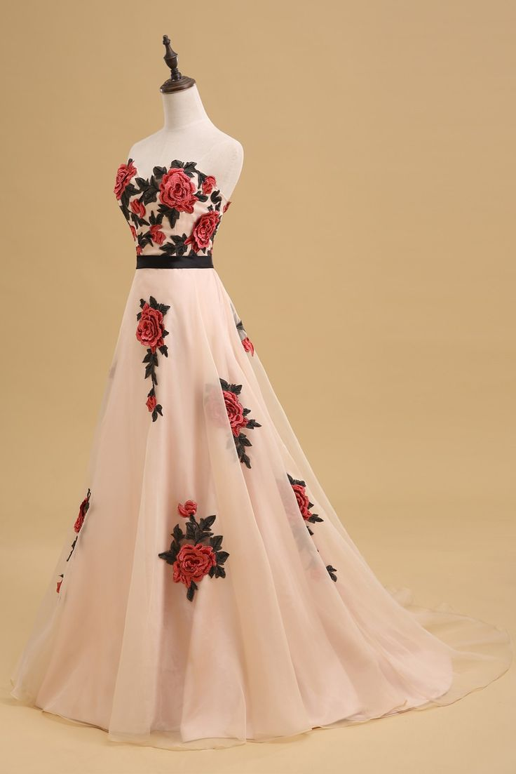 Rose Embroidered Floor Length Chiffon A-Line Prom Dress Featuring Sweetheart Bodice and Chapel Train