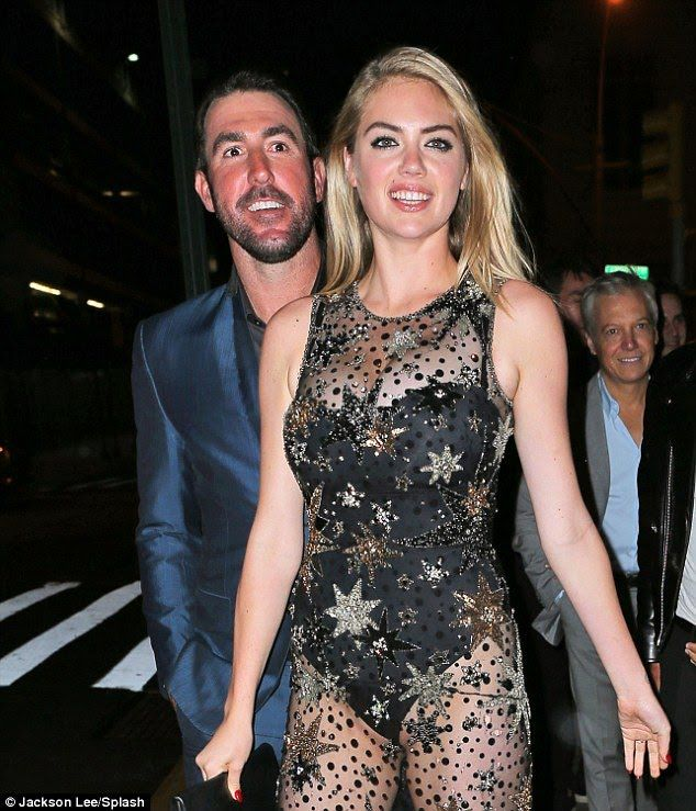 Smiling Kate Upton and Justin Verlander at her birthday Party