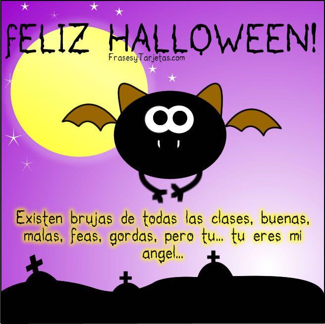 Tarjeta de Halloween murcielago, con lindo mensaje