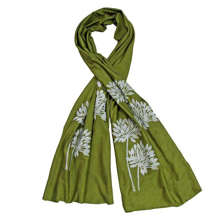 Wind Sparrow Hand Printed White Ink Botanical Fashion Scarf - Sage Green Allium