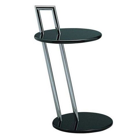 Like the well-known adjustable table, the Eileen Gray End Table in chrome and high lacuqer is made to be carried.