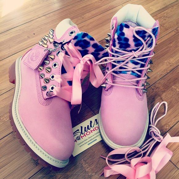 Pink Timberlands Custom spiked leopard pink Timberlands go to slutsanddiamonds.com Timberland Shoes Winter & Rain Boots