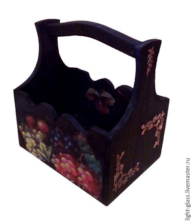 Купить Короб Виноградный - короб, коричневый, коричневый короб, декор кухни, кухонная утварь
