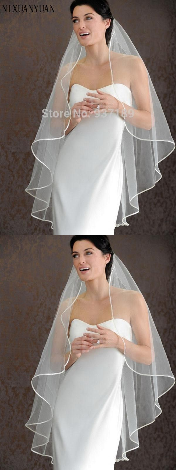 Hot Seller 1 LAYER White Ivory wedding Veils Short Bridal Wedding Accessories Veil bridal Wedding Veil With Satin Band