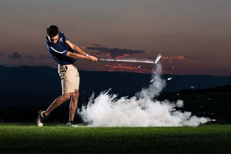 golf senior portrait - golf action at sunset in Nike poster style by dave+sonya photography in Colorado Springs (picture pictures photo photos)