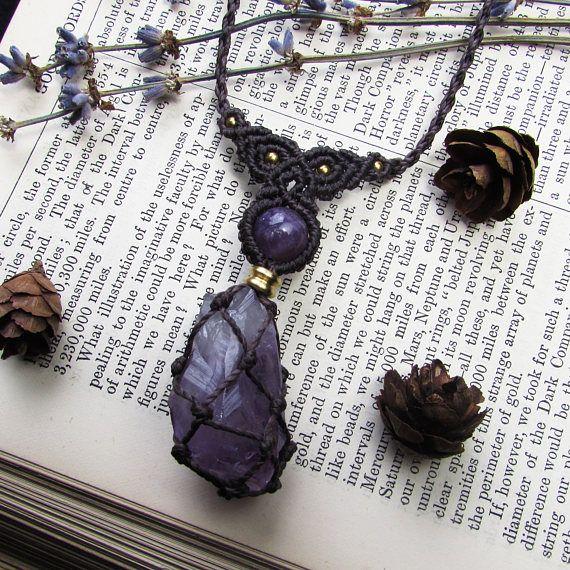 Raw amethyst tip micro macrame necklace - dark brown hippie necklace vegan present elven jewelry fae fashion bohemian jewellery hippy gifts