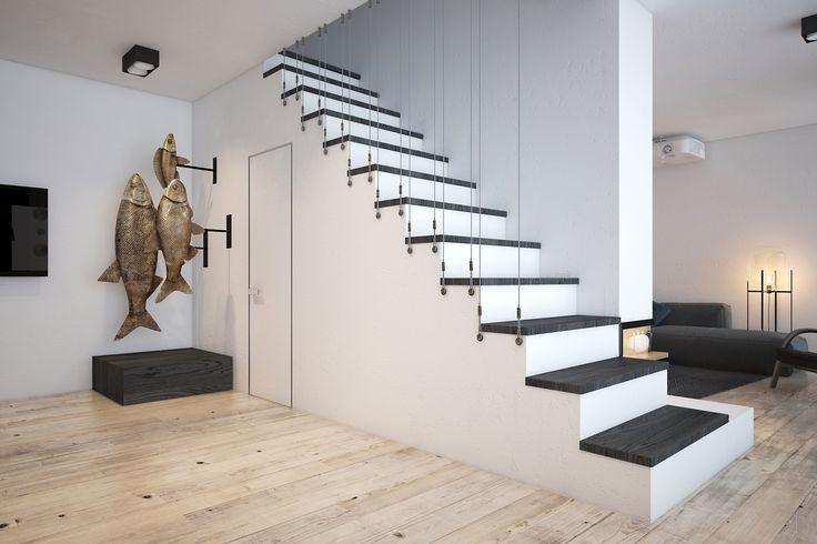 Лестница, которую спроектировали дизайнеры интерьера Zooi. Под лестницей находится санузел. Пространство украшает оригинальная скульптура, выполненная на заказ.