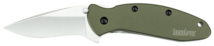 Kershaw 1620OL Scallion Folding Knife (Olive Drab) with SpeedSafe. Made in the USA. Bead-blasted finish-Handle: 6060-T6 anodized aluminum-. Blade length: 2.4 in. (6.1 cm)-Closed length: 3.5 in. (8.9 cm)-Overall length: 5.75 in. (14.6 cm)-Weight: 2.5 oz. (70.9 g). Made in the USA; Speed Safe assisted opening; Liner lock; Single-position pocket clip. Steel: 420HC, bead-blasted finish. Handle: 6060-T6 anodized aluminum. Blade length: 2 1/4 Inch (5.8 cm); Closed length: 3 1/2 Inch (8.4 cm);...