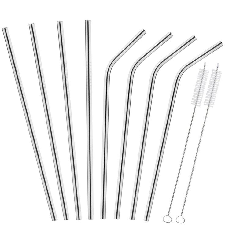 "Koncle Stainless Steel Straws For 30 20 Oz Tumbler Yeti RTIC - 8 Pcs Long Drinking Straws 10.5"" - 4 Bent / 4 Straight Metal Straws And 2 Cleaning Brushes"