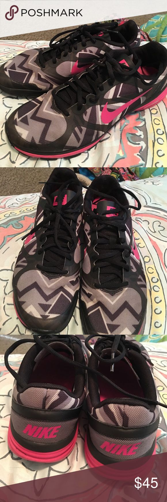Nike dual fusion free runs. size 9, pink & black Nike dual fusion free runs. size 9, pink & black. barely been worn. nothing wrong with them, they're just too big! Nike Shoes Athletic Shoes