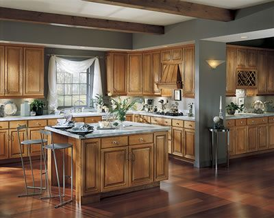 gray with wooden cabinets | New kitchen cabinets, Cherry ...