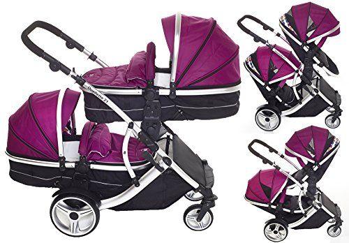 Kids Kargo Double Twin Tandem Pushchair. Duellette Combi Suitable from birth, Carrycot converts to toddler seat unit. Stroller by Kids Kargo (Dooglebug Raspberry)     Order now!
