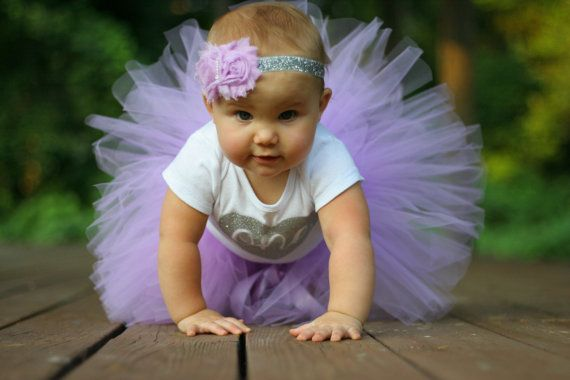 First Birthday Tutu...Baby Girl Birthday Outfit...Purple Tutu...Bodysuit Tutu and Headband Set...1st Birthday Outfit...Lavender and Silver