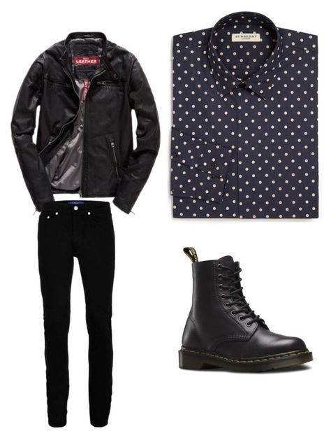 """mens outfit"" by alvarezanahi on Polyvore featuring Burberry, Superdry, Wood Wood, Dr. Martens, men's fashion and menswear"