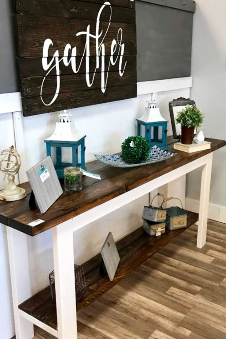 Gorgeous foyer decor idea - LOVE that farmhouse foyer table and the pallet Gather wall sign! #foyer #entryway