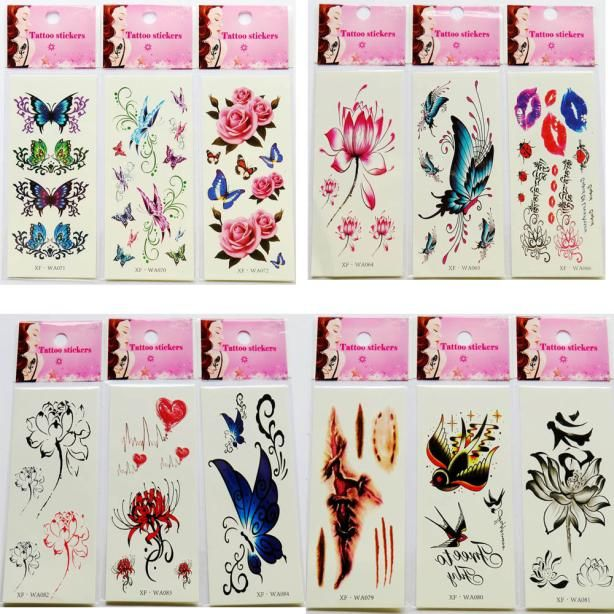 Graceful   Multiple Waterproof Temporary Tattoos 3D Butterfly Flower Fake Tattoos Sticker   AUG12
